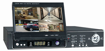 4 Channel DVR with Integrated 7 inch LCD Screen
