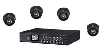 4 CCD Dome Cameras with 160GB DVR with integrated LCD Screen