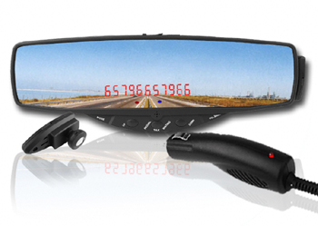 Slimline Car Bluetooth Rearview Mirror with Wireless Earphone