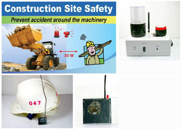 Construction Site Safety System Helmet Transmitter