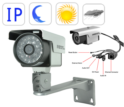 Wired Outdoor CCD IP Camera with Night vision