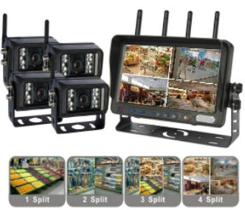 Wireless Quad / Split View Vehicle Camera kit 7-inch LCD Screen